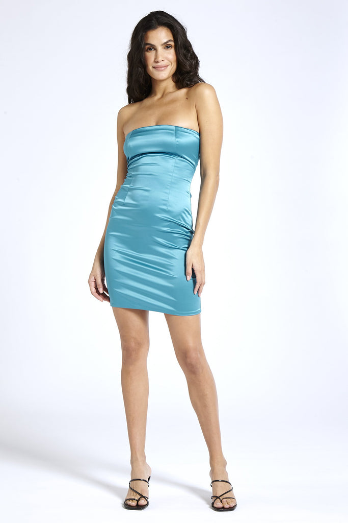 Recycled Satin Puff Sleeve Strapless Dress in Blue