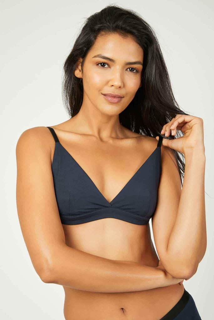 Luna Sustainable Triangle Bralette in Blue