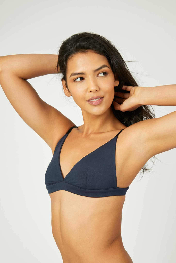 Luna Tencel Triangle Bralette in Blue