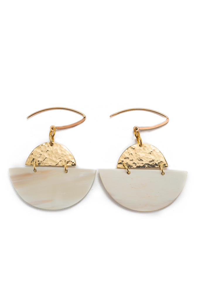 Sondu Recycled Brass & Reclaimed Horn Earrings