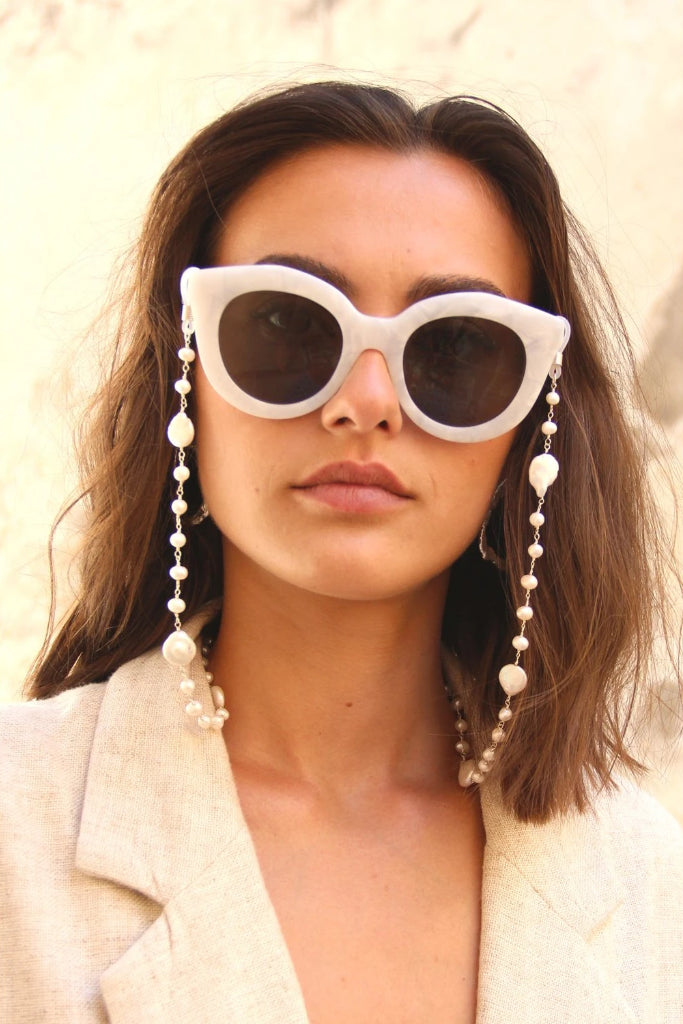 Sunglasses Pearl Handmade Sterling Silver Chain