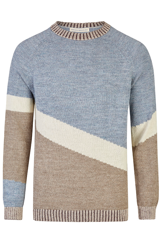 Maras Handmade Alpaca Sweater in Blue & Ecru & Beige