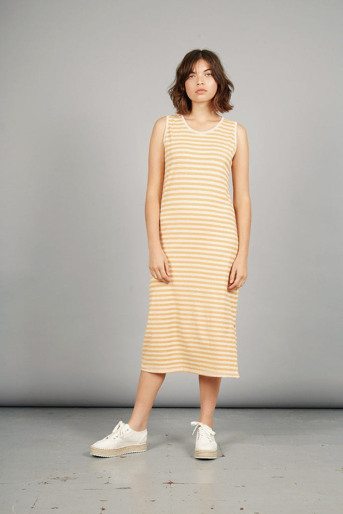 Tequila Organic Hemp & Cotton Dress in White & Orange Stripe