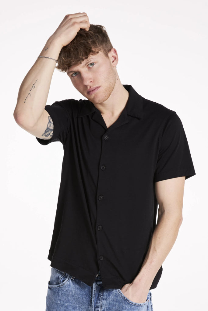 Button Down Organic Cotton Shirt in Black