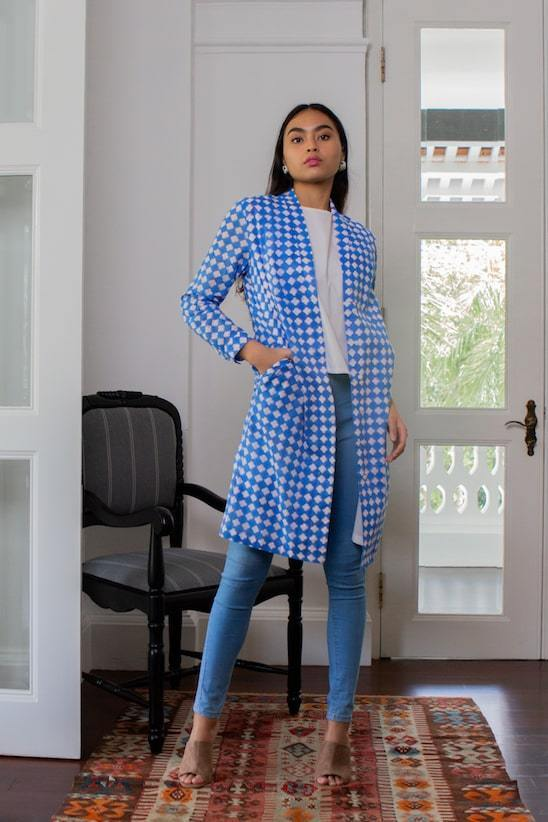 Taara Organic Cotton Shirt Dress in Blue