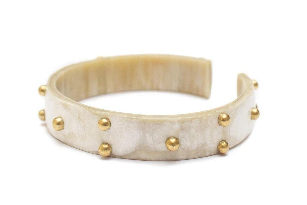 Taita Studded Recycled Brass & Reclaimed Horn Bracelet in White