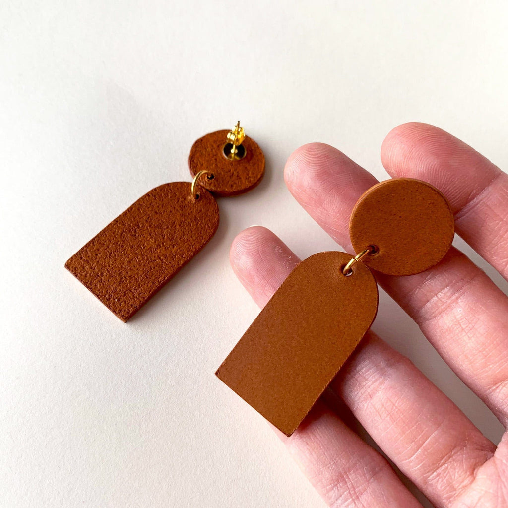 Orana Handmade Vegetable Leather Drop Earrings in Tan