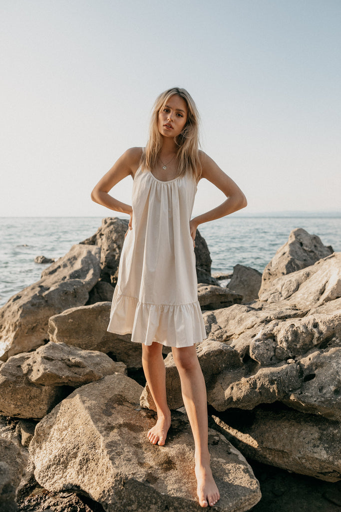 Organic Cotton Satin Mini Dress in White