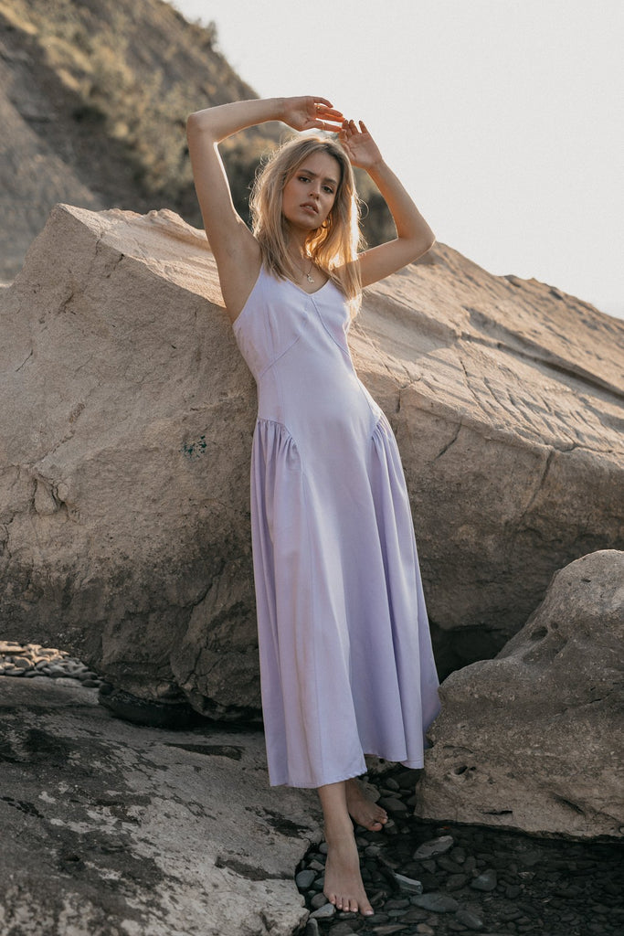 Frosty Biodegradable Tencel Maxi Dress in Lilac