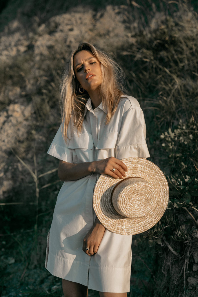 Organic Cotton Satin Shirt Dress in White