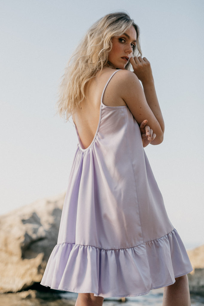Frosty Biodegradable Tencel Mini Dress in Lilac