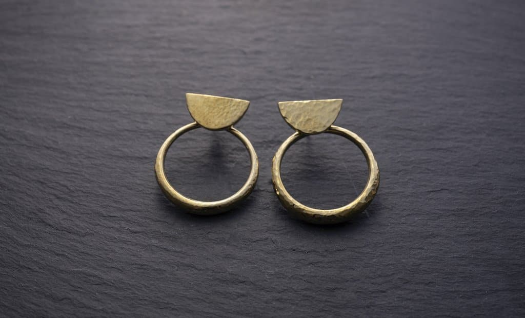 Tiwi Hammered 3 Way Hoop Earrings Yala Jewellery Ethical Brass Modern African 14k Gold Fill