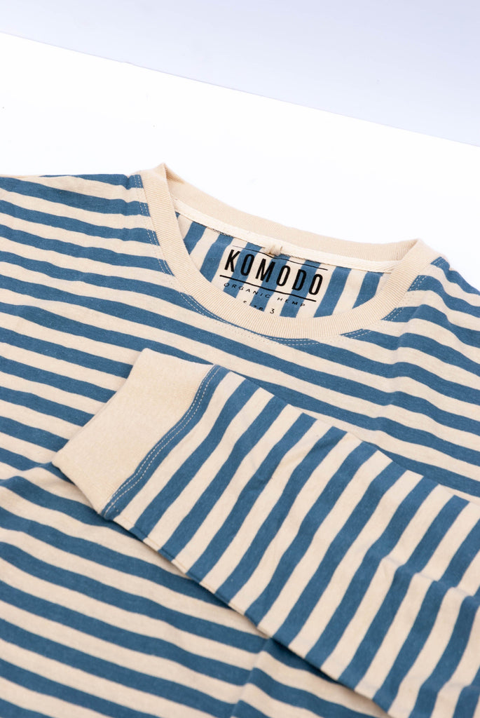 Two's UP Organic Hemp & Cotton Blouse in Blue Stripe