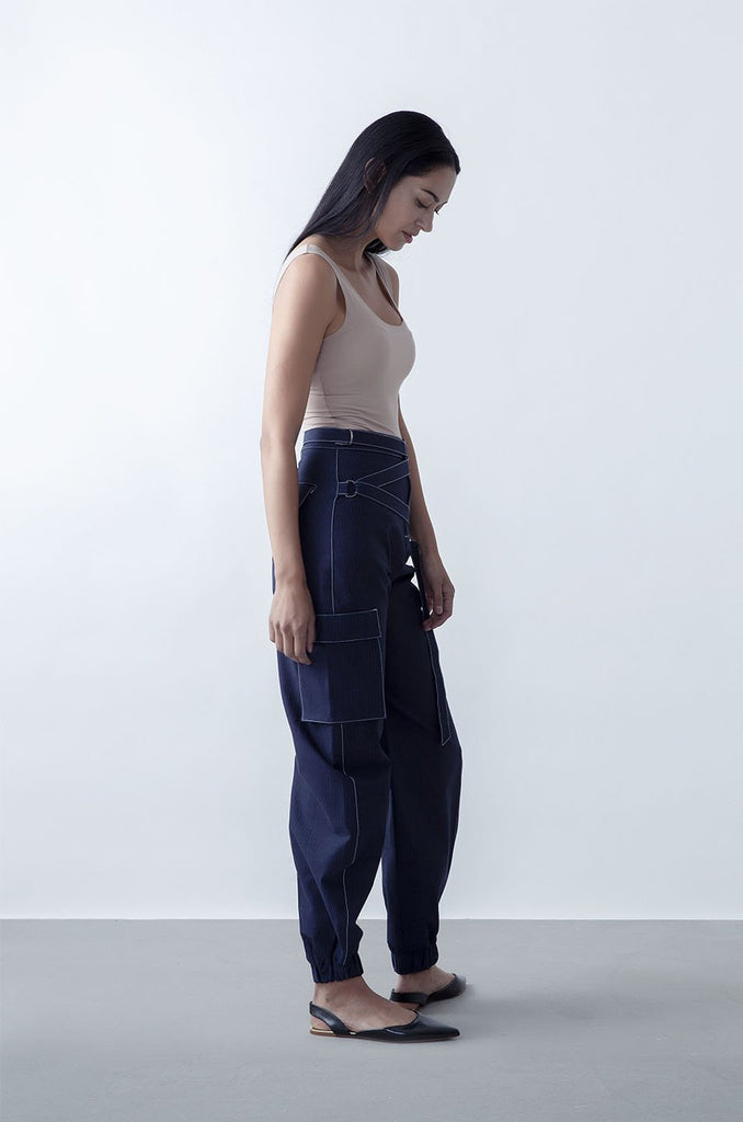 Ryde Upcycled Cotton Denim Trousers in Indigo