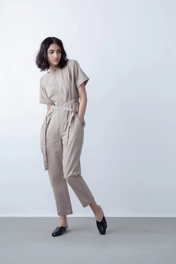 Avalon Upcycled Cotton Jumpsuit in Khaki