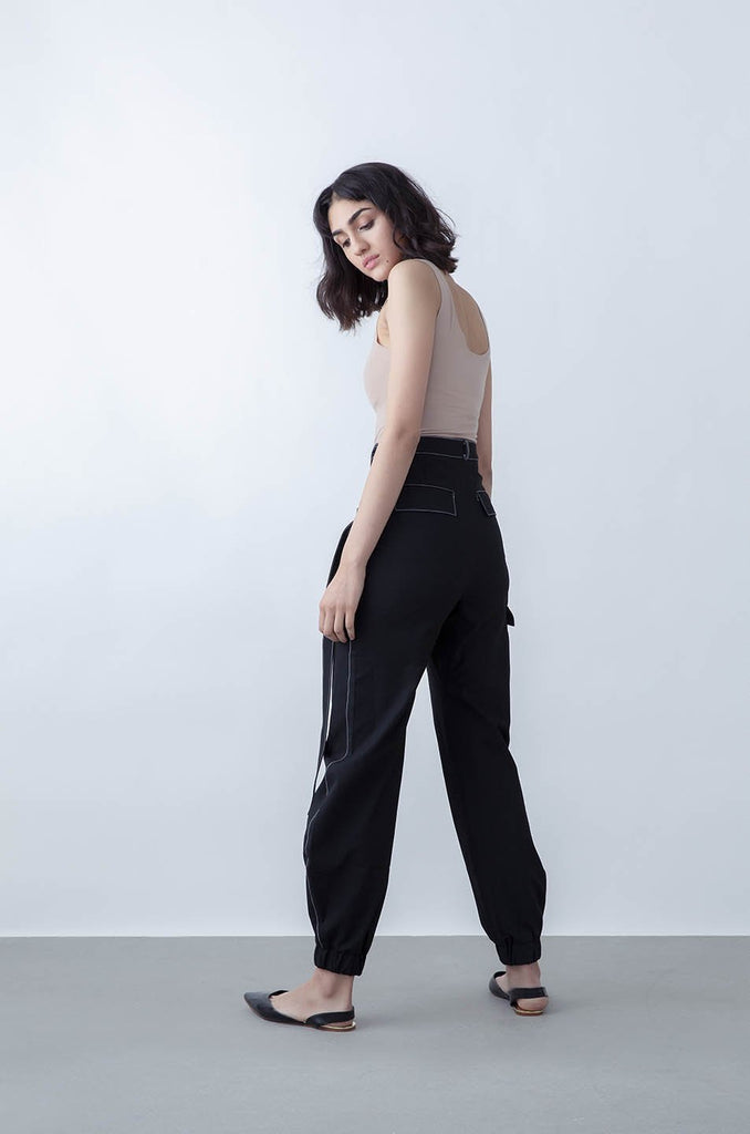 Ryde Upcycled Polyester & Viscose Trousers in Black