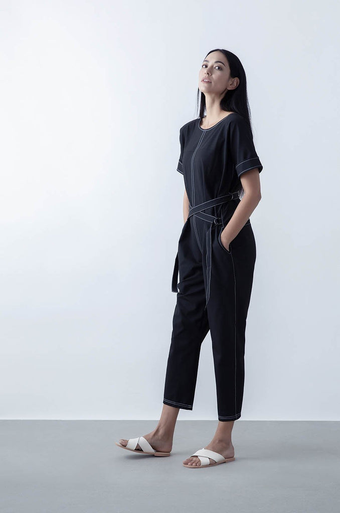 Avalon Upcycled Polyester Jumpsuit in Black