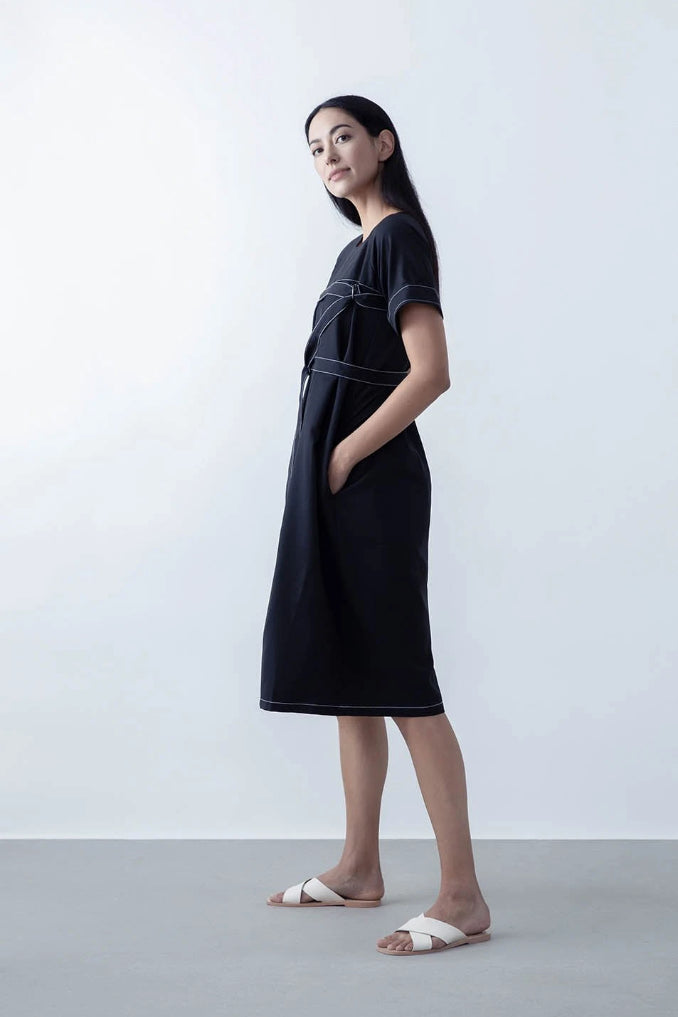 Preston Upcycle Wool Dress in Black