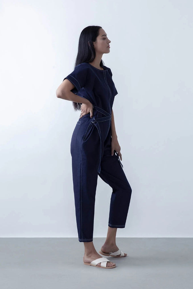 Avalon Upcycled Cotton Denim Jumpsuit in Indigo