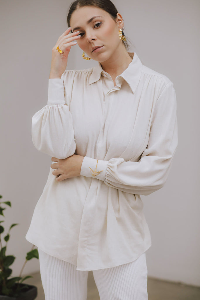 Arabella Vegan Linen Shirt in White