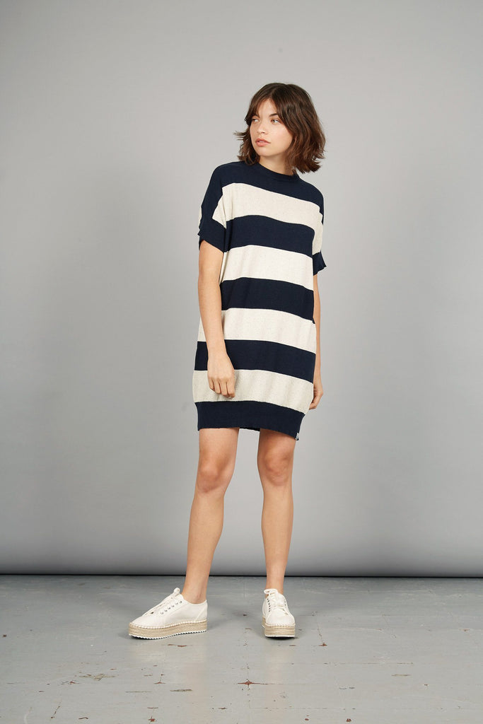 Victory Organic Cotton Dress in Foam & Ink