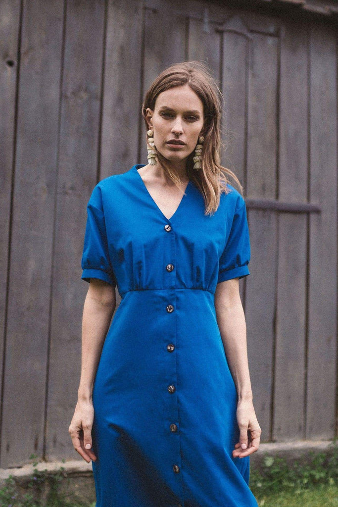 Bubu Organic Cotton Mini Dress in Blue
