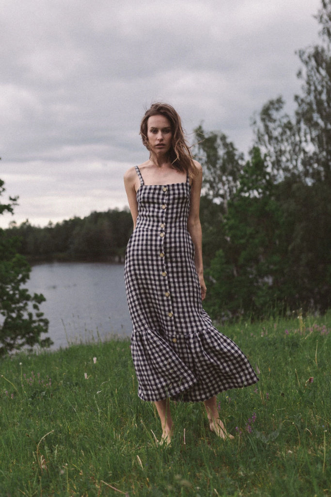 Lulu Organic Linen Dress in Check