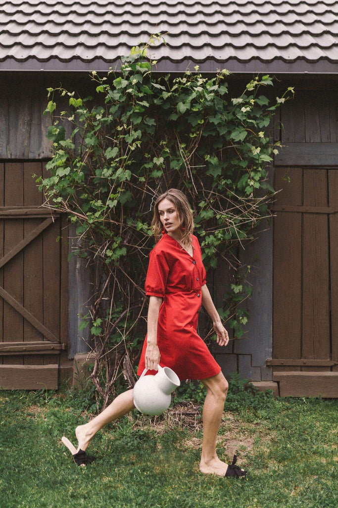 Bubu Organic Cotton Mini Dress in Red
