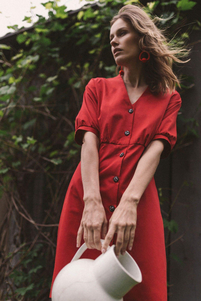 Bubu Organic Cotton Dress in Red