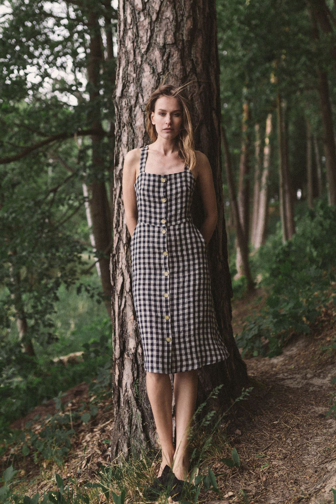 Luca Natural Dress in Check Linen in Black and white
