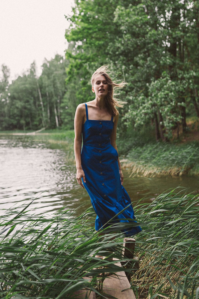 Lulu Natural Midi Dress in Blue