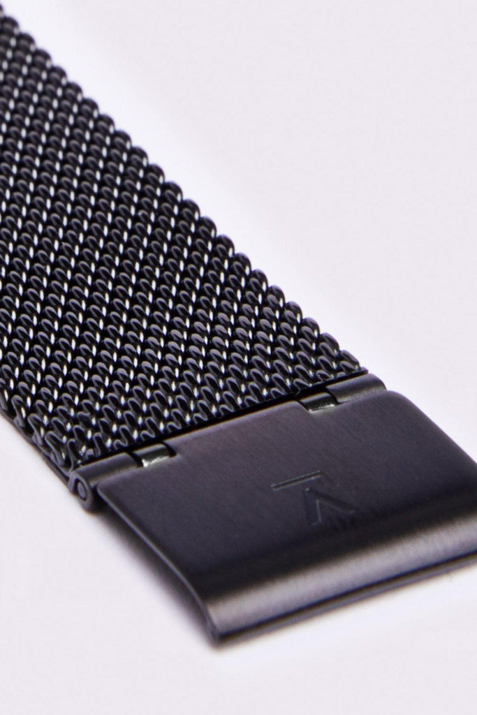Mesh Stainless Steel Watch in Black, Silver, Black Strap