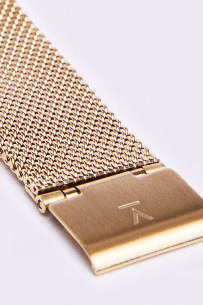 Mesh Petite Stainless Steel Watch in White, Gold, Gold Strap