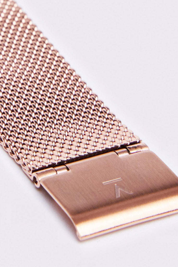 Mesh Stainless Steel Watch in Black, Rose Gold, Rose Gold Strap