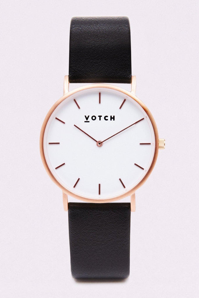 Classic Vegan Leather Watch in White, Rose Gold, Black Strap