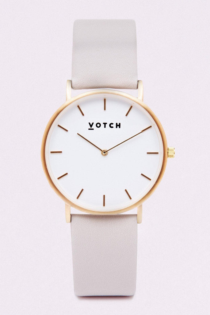 Classic Vegan Leather Watch in White, Brushed Gold, Light Gray Strap