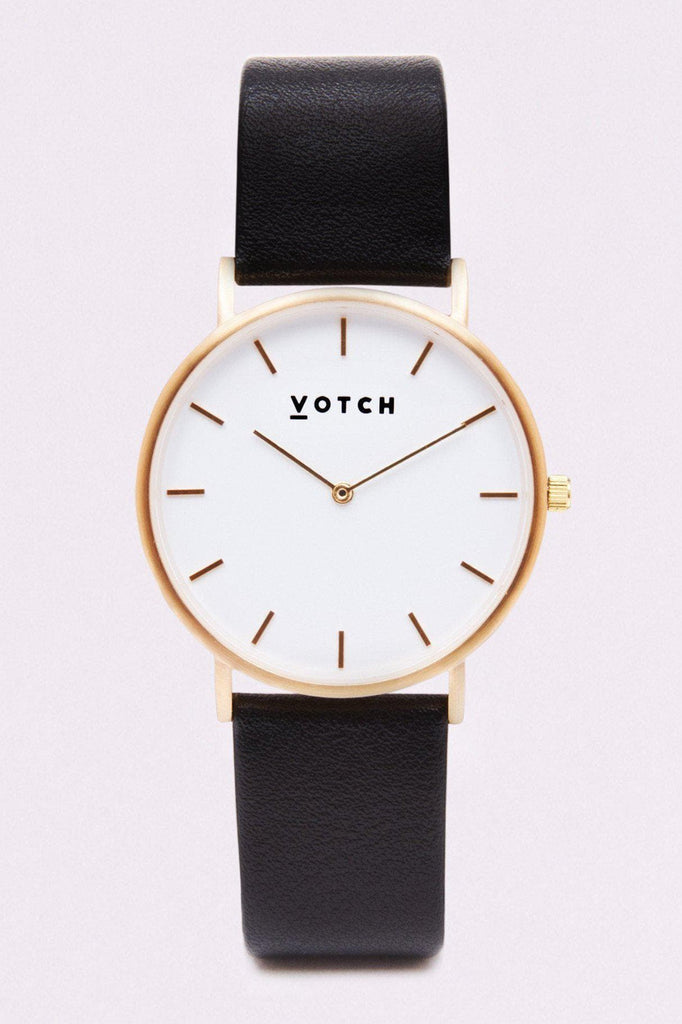 Classic Vegan Leather Watch in White, Gold, Black Strap