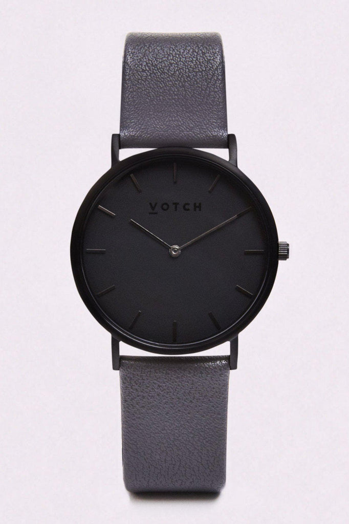 Classic Vegan Leather Watch in Black, Dark Gray, Dark Gray Strap