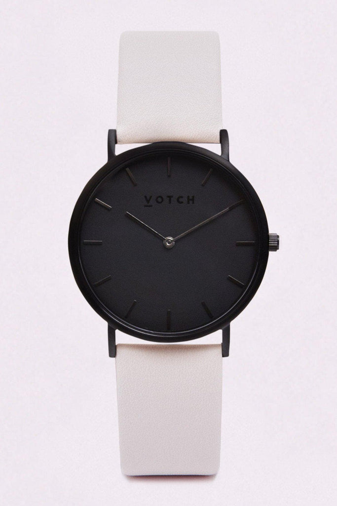 Classic Vegan Leather Watch in Light Gray, Black Strap