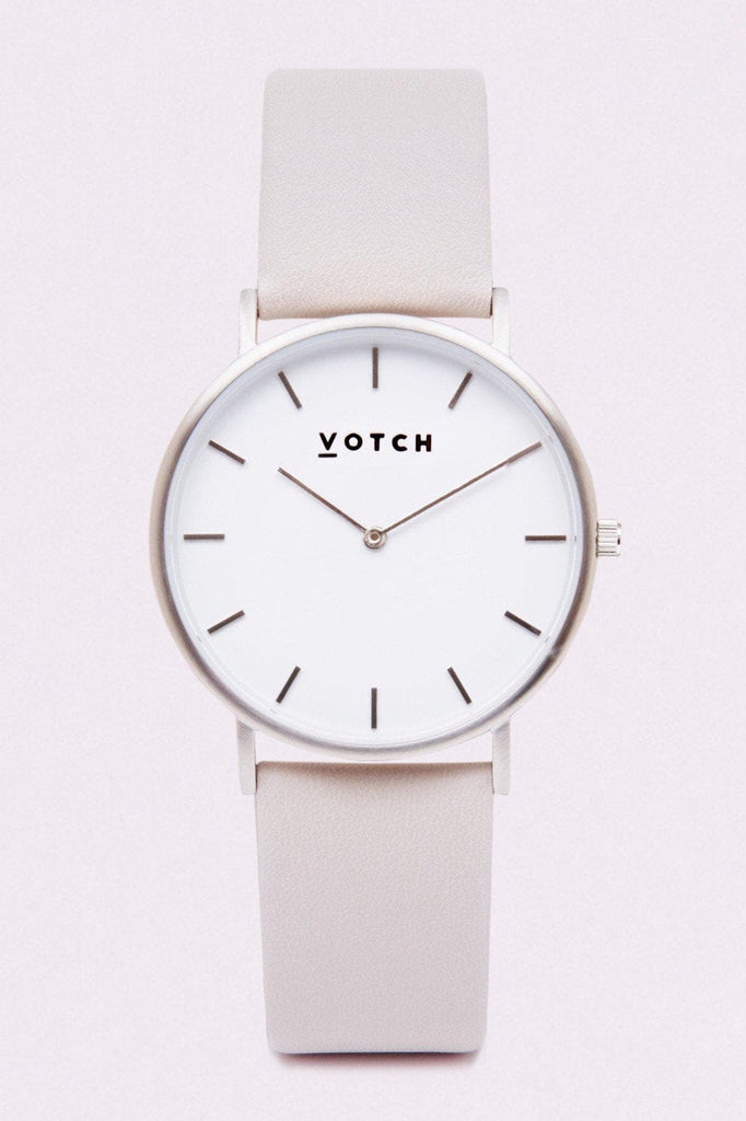 Classic Vegan Leather Watch in Light Gray, Silver, Light Gray Strap