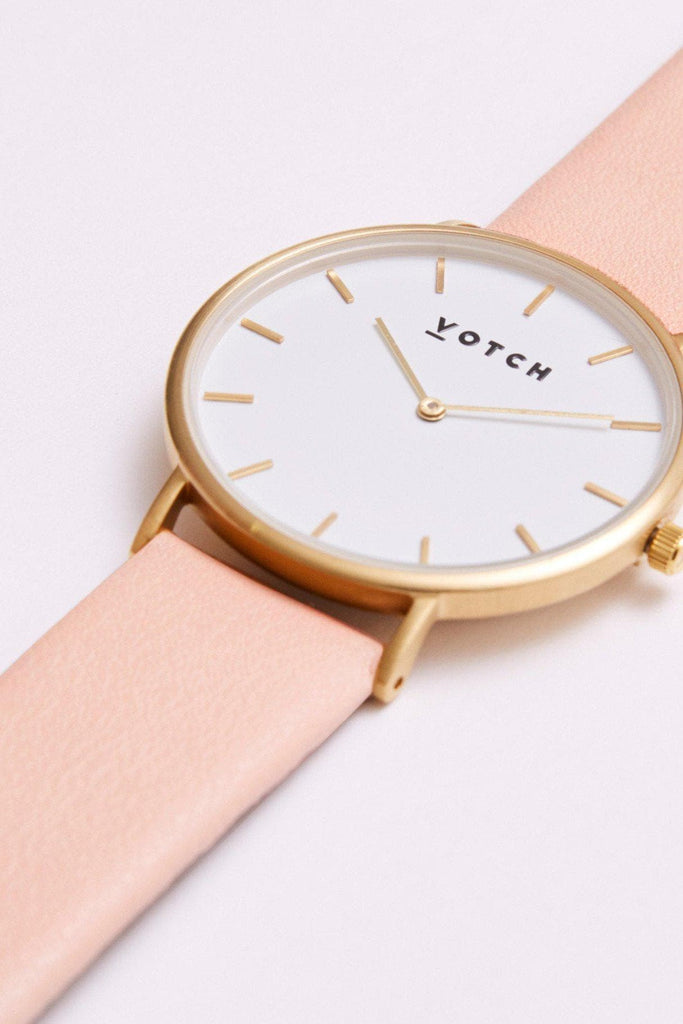 Classic Vegan Leather Watch in White, Gold, Pink Strap
