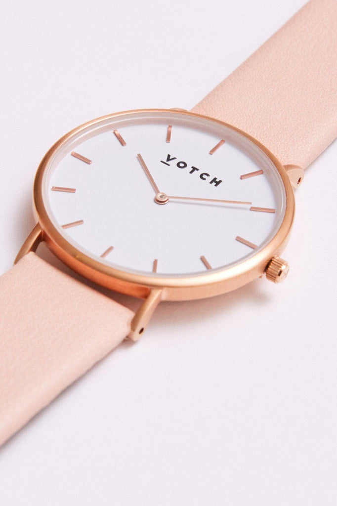 Classic Vegan Leather Watch in White, Rose Gold, Pink Strap
