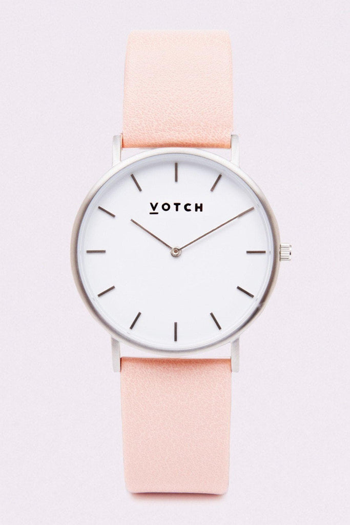 Classic Vegan Leather Watch in White, Silver, Pink Strap