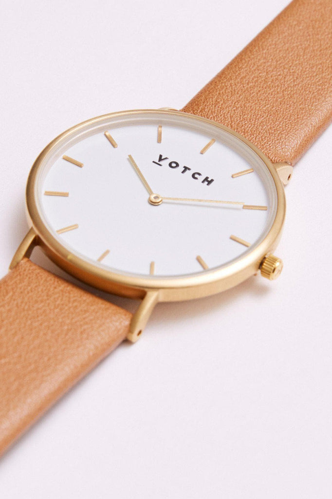 Classic Vegan Leather Watch in White, Gold, Tan Strap