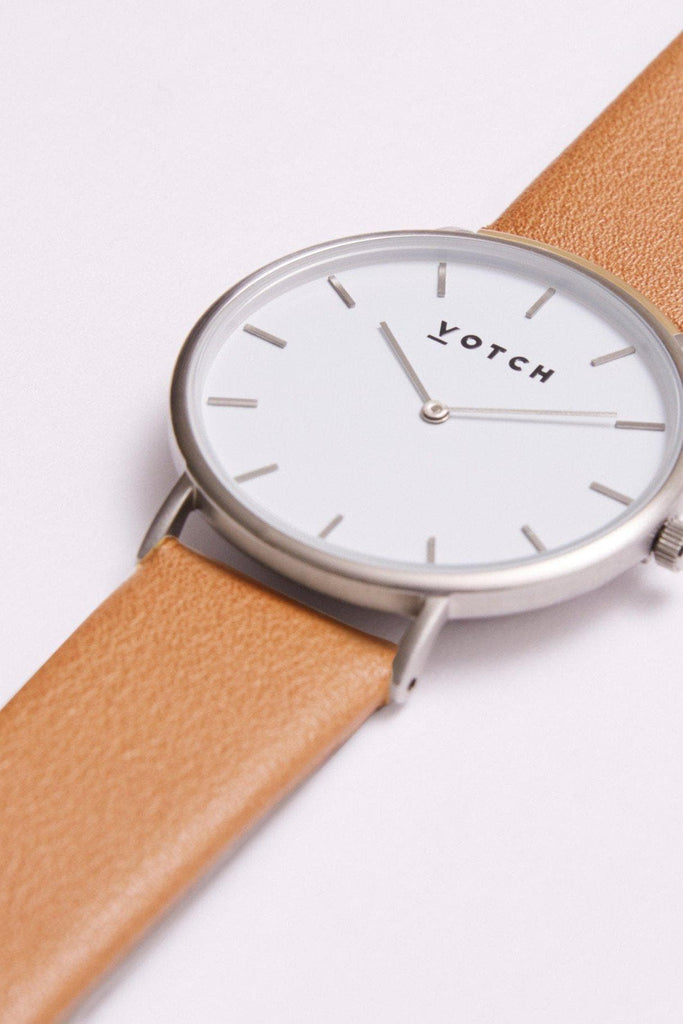 Classic Vegan Leather Watch in White, Silver, Tan Strap