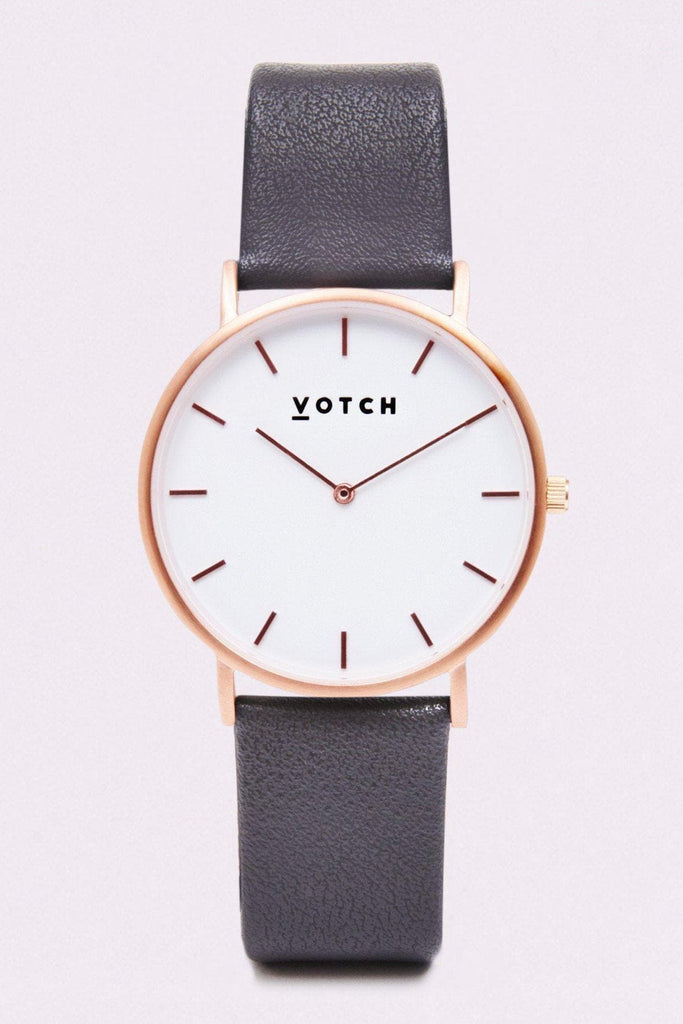 Classic Vegan Leather Watch in White, Rose Gold, Dark Gray Strap