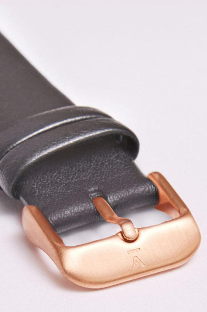 Classic Vegan Leather Watch in Rose Gold, Black, Dark Gray Strap