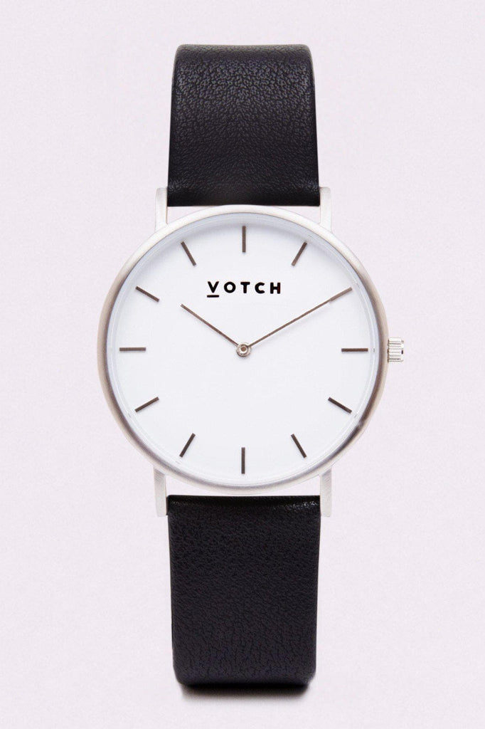 Classic Vegan Leather Watch in White, Silver, Black Strap