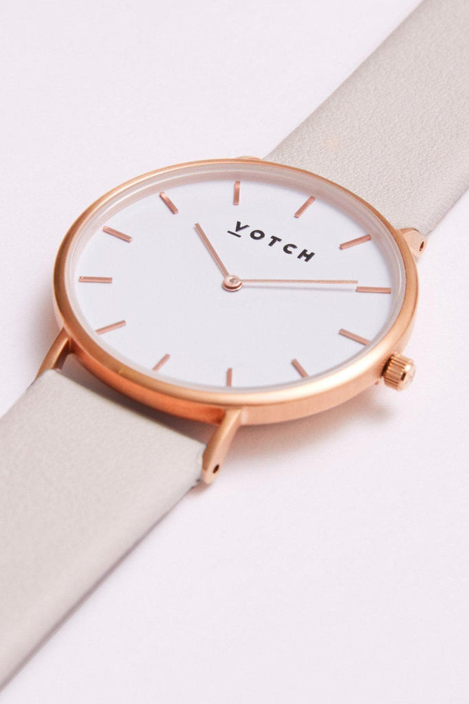 Classic Vegan Leather Watch in White, Rose Gold, Light Gray Strap