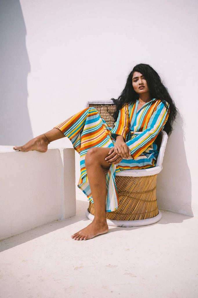 Casablanca Organic Cotton Kaftan in Multicolor Stripe